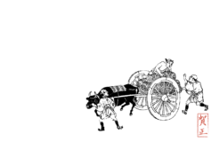 年賀状テンプレート:米俵の荷車をひく牛