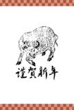 年賀状テンプレート:ヘタウマ牛と謹賀新年(市松ライン入り)の浮世絵ダウンロード素材