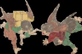 烏天狗たちの浮世絵イラスト素材