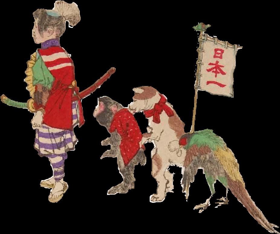 Free ukiyoe of team Momotaro