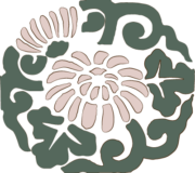 和風模様_楕円菊の浮世絵イラスト素材