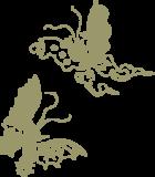 和風模様_2匹の蝶の浮世絵イラスト素材