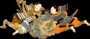 鬼を捕縛する侍の浮世絵ダウンロード素材