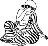 泣く虎縞柄の男性の浮世絵イラスト素材