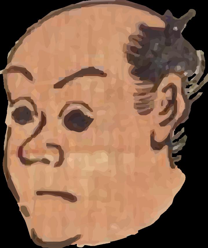 Free ukiyo-e item of A man's face with large black eyes (Hanjimono: Meguro)