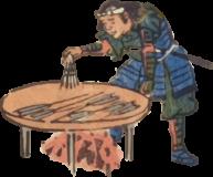 Free ukiyo-e item of Ashigaru roasting an arrow (Hanjimono: Iriya)