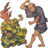 Free ukiyo-e item of A man hitting a fireman (Hanjimono: Nippori)