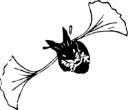 いろいろコウモリ_銀杏の葉の浮世絵ダウンロード素材