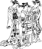 遊女たちの浮世絵フリーイラスト素材